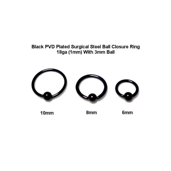 Black PVD Plated Surgical Steel Ball Closure Ring With 3mm white