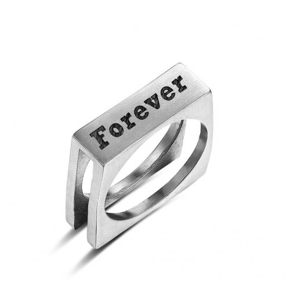 טבעת כסף מרובעת