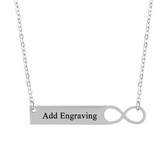 Personlised Stainless steel bar infinity necklace
