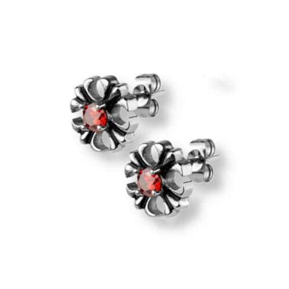 עגילים-צמודים-פרח-עם-קריסטל-אדום