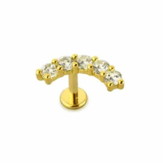 עגיל הליקס 5 קריסטלים זהב