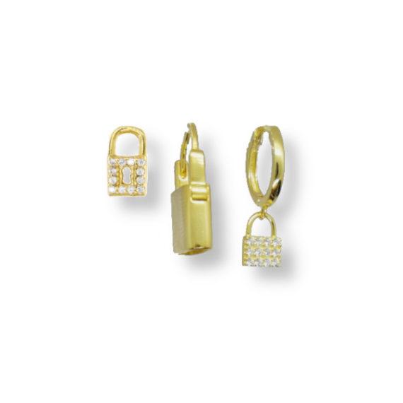 סט-עגילים-לאוזן-מנעולים-זהב