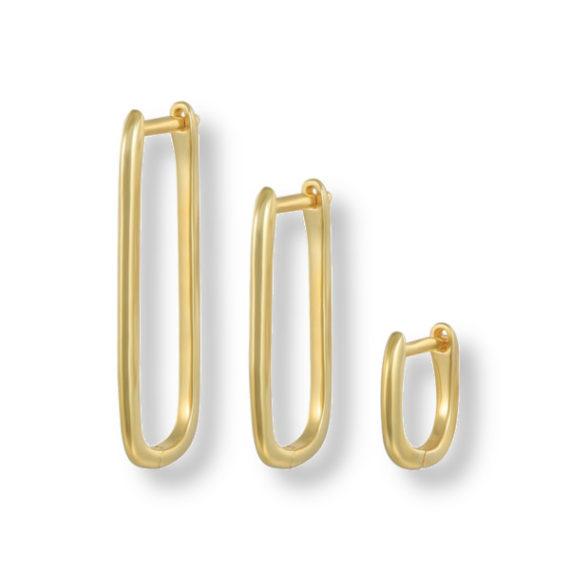 סט עגילי חישוק אובלים זהב
